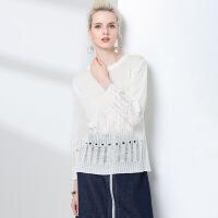 春季欧美宽松大码女装针织衫 圆领镂空设计女上衣 长袖新款毛衣