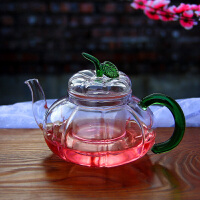 耐高温玻璃泡花茶壶普洱红茶下午茶壶绿叶南瓜透明水壶配过滤内胆750ML防滑底高硼硅玻璃杯