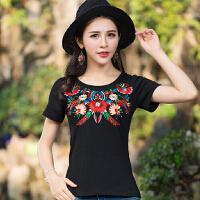 夏季新款大码民族风上衣复古女装圆领套头绣花短袖T恤女体恤