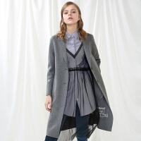 秋装新品 双面呢大衣长款羊毛呢外套Y631433D00