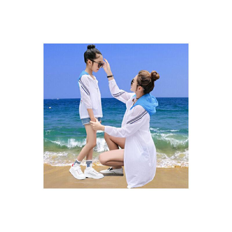 【618大促-每满100减50】防晒衣女中长款2017夏季新款宽松亲子装母女儿童防晒服透气薄外套
