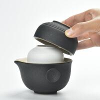 粗陶快客杯黑陶一壶二两杯创意便携旅行功夫茶具套装茶壶茶杯陶瓷
