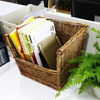 藤编桌面小书架置物架简易复古上学生宿舍