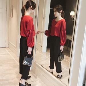 【限时促销!下单立减100!】2018秋季新款韩国气质显瘦百搭泡泡袖上衣时尚套装女哈伦裤两件套