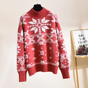 朴衣尚2019新年新款式圣诞节红色短款学生上衣女韩风百搭半高领宽松雪花图案仿水貂绒毛衣