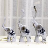 现代大象一家三口树脂摆件结婚礼物婚庆礼品家居装饰品