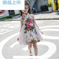 女童夏装旗袍短袖连衣裙2018儿童中国风连衣裙演出礼服公主裙