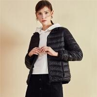羽绒服女短款拉夏贝尔2018冬季新款韩版修身面包服小个子轻薄外套
