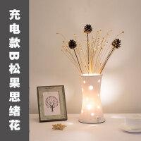 创意台灯卧室床头房间充电陶瓷插花结婚婚房生日礼品温馨浪漫装饰