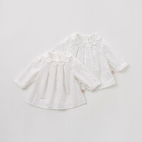 [2件3折价:74.1再领120��]戴维贝拉2019春季新款女童圆点衬衫宝宝全棉衬衣DB10156