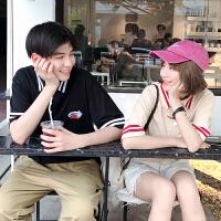 18新款气质情侣装夏装POLO衫女可爱轴承领短袖T恤上衣韩版宽松潮