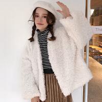 毛茸茸外套女秋冬韩版羊羔毛加厚快手网红同款ins超火的开衫上衣