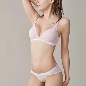依曼丽性感舒适无钢圈 单层超薄蕾丝水晶杯少女文胸套装DYY7101