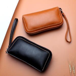 【春夏新品惠】女式手拿手机包头层牛皮化妆包新款欧美钱包真皮长款钱包