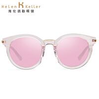 海伦凯勒2017新款太阳镜女款 猫眼款圆框时尚镀膜 魅惑感性之美墨镜女H8611