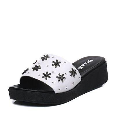 Belle/百丽2017夏专柜同款牛皮厚底钻饰女拖鞋BNLA8BT7