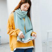 围巾女冬季韩版百搭保暖针织毛线纯色加厚学生秋冬季小清新围脖