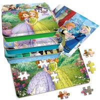 正版全新 迪士尼卡通全明星拼图铁盒:冰雪奇缘+小公主索菲亚+白雪公主(5个铁盒、300片拼图)