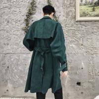 秋季设计师款英伦韩版中长款外套潮牌男装麂皮绒chic百搭无扣风衣