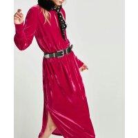 秋冬新款女士开叉装饰中长款天鹅绒打底连衣裙女