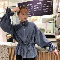 秋季新品韩版宽松蝙蝠袖长袖灯芯绒衬衣收腰显瘦学生衬衫上衣女潮 均码 (160/84A)