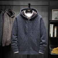2019冬季开衫毛衣男加绒加厚款外套潮流连帽外穿男士针织衫