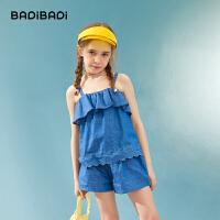 【2件3折:119】巴拉巴拉旗下女童短裤套装两件套吊带洋气纯棉新款儿童2020夏装