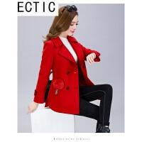 ECTIC 毛呢外套女短款韩版2018春装修身小个子呢子大衣时尚百搭妮子