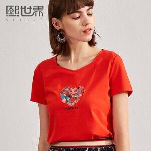 熙世界2018年春夏装新款短袖修身绣花T恤女韩版刺绣上衣112ST030