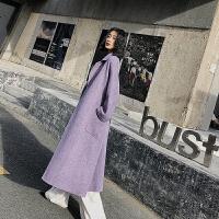紫色羊毛大衣女人字纹双面呢大衣中长款收腰赫本毛呢外套