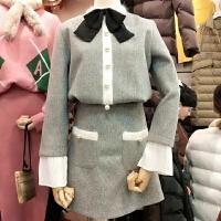 气质小香风减龄显瘦优雅蝴蝶结毛呢套装(上衣+半裙 )