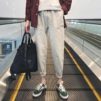春夏新款2018直筒小脚纯色哈伦裤青少年百搭潮流休闲裤男士长裤子