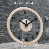 钟表挂钟客厅创意个性圆形现代简约静音北欧艺术透明实木挂表卧室