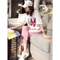 休闲运动套装女夏2019新款时尚宽松短袖气质嘻哈跑步两件套春潮 白色上衣+粉色裤子