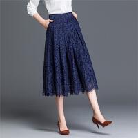 2018春季蕾丝半身裙百褶裙中长款高腰大码字裙时尚半身长裙女