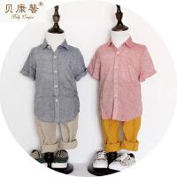 [当当自营]贝康馨新款夏装 男童灰麻短袖衬衫