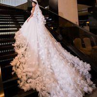 2018新款韩式抹胸公主新娘 修身显瘦 花朵长拖尾婚纱礼服大码定制