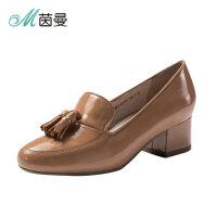 茵曼鞋子女2018新款流苏中跟浅口乐福鞋圆头粗跟单鞋4883012013B