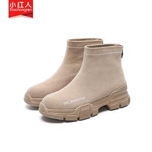 小红人【年终狂欢】2018新款牛反绒加绒短靴女鞋子中跟粗跟春秋英伦拉链短筒靴百搭女靴子5521