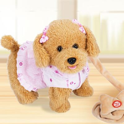 儿童电动玩具狗狗走路会唱歌跳舞机械狗仿真会叫小狗毛绒牵绳泰迪 80首歌曲会汪叫会说话