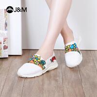 jm快乐玛丽2018春季新款设计师涂鸦套脚舒适运动休闲鞋女鞋78089W