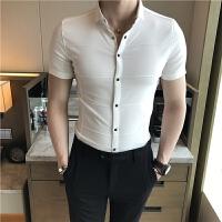 夏季纯色短袖衬衫男小码XS号S码帅气按扣衬衣155男士紧身小衫寸衣