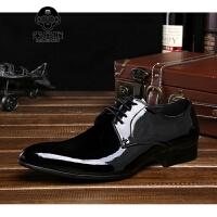 米乐猴 潮牌春季英伦漆皮男士正装皮鞋 商务休闲鞋 尖头皮鞋潮流婚鞋男单鞋男鞋
