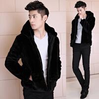 男士皮毛一体冬装新款加绒仿皮草夹克青年加厚情侣棉衣棉袄褂子潮