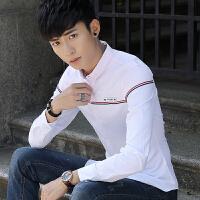 春季新款男士长袖衬衫韩版修身免烫拼接衬衣青年男装休闲寸衫