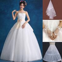 婚纱礼服2018冬新款韩式修身抹胸时尚大码新娘结婚齐地抹胸款婚纱 FH360送撑群头纱手套