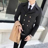 新款2018冬短款修身风衣男士 小码S码韩版双排扣毛呢大衣帅气西
