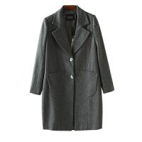 冬装外套女装潮 东大门两粒扣西装领长袖毛呢外套女中长