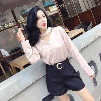 2018夏季新款女装白领OL气质围脖装饰V领上衣+高腰金扣阔腿短裤