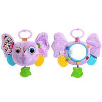 婴儿车床挂件动物哈哈镜带摇铃牙胶 新生儿手抓布艺玩具 大象哈哈镜拉铃